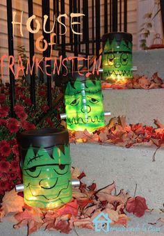 Frankenstein Luminaries - Gallon water repurposed project for Halloween.