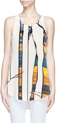 270 3.1 Phillip Lim Bead-embellished printed silk tank top on shopstyle.co.uk