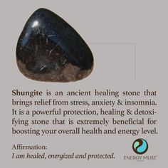 Shungite is an ancient healing stone that is around 2 billion years old. It brings relief from stress, anxiety and insomnia and is a powerful protection, healing and detoxification stone. #shungite #healing #crystals