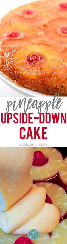 Pineapple Upside Down Cake Recipe: Pineapple Upside Down Cake makes a timeless dessert. Topped with a signature pineapple and cherry topping, this pineapple upside down cake is a southern classic. // addapinch.com #pineappleupsidedowncake #cake #southern #dessert #addapinch