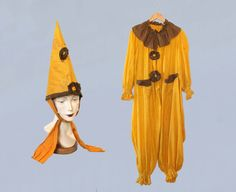 bff67f0f50f0 RARE! Antique Halloween Costume   1920s Cotton Clown Jester Pierrot Onesie    20s 2-Piece Jumpsuit and Pointed Hat with Original Photos!!