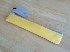 Pen case slim (bi-colour: Yellow x Gray) - made from Japanese WASHI paper - light yet strong - highly water-resistant and not easily torn Paper Manufacturers, Paper Light, Torn Paper, Colour Yellow, Pen Case, Washi, Bag Making, Strong, Japanese