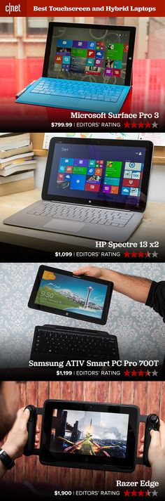 If you're interested in touchscreen laptops, you might like these. The Surface Pro 3 is Microsoft's flagship tablet / laptop hybrid. If you choose the HP Spectre 13 x2, you'll get a big screen with dual batteries. The Samsung ATIV Smart PC Pro 700T is an ultrabook that pops its top to remove the screen from the keyboard.  Finally, the Razer Edge is one of the most inventive PC gaming devices in years. Check out the rest of our touchscreen and hybrid laptop roundup on CNET.com.