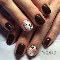 Dark chocolate color of brown color looks very strict and modest, but the flowers on a white background of the ring finger make softer and dilute this desi