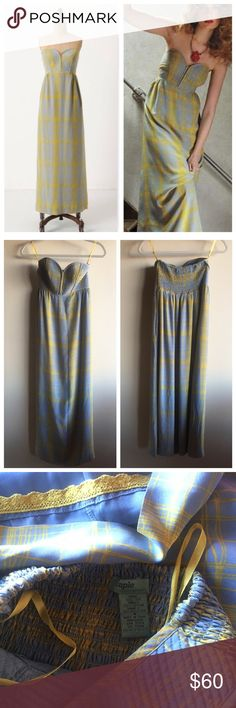 """Anthropologie Quilted Pastiche silk maxi dress Gorgeous strapless maxi dress by Maple in 100% silk. Grayish blue and yellow print with a quilted bodice. Two side pockets. Excellent condition except for a small pull as pictured.  """"A hodge-podge of color, pattern and texture swirl across Maple by Some Odd Rubies' silky masterpiece. * Pullover styling * Silk; cotton, polyester lining * Dry clean * 48.5""""L * Imported * Style No. 22516744 Anthropologie Dresses Maxi"""