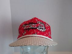 VTG Rattler Ropes All Over Cow Print StrapBack Cap Hat Ranch Cowboy Farm 80s 90s #BaseballCap