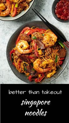Singapore noodles are a delicious jumble of BBQ pork, shrimp, red peppers and rice vermicelli all wrapped up in a crazy tasty curry package. Vermicelli Recipes, Vermicelli Noodles, Cooking Wine, Asian Cooking, Seafood Recipes, Dinner Recipes, Cooking Recipes, Asian Recipes, Healthy Recipes