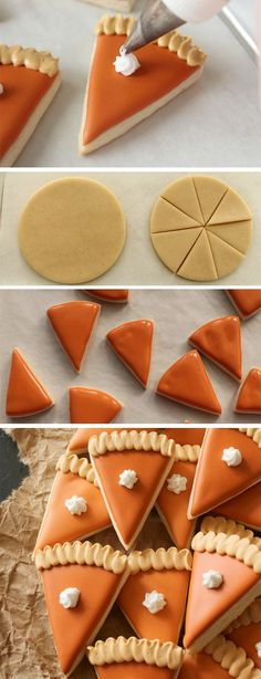 These are great little bites of sugar cookie frosted to look like little slices of pumpkin pie. Perfect for Thanksgiving dinner, for something other than the real pumpkin pie. This would be a fun Thanksgiving treat to send to school! Thanksgiving Cookies, Fall Cookies, Christmas Sugar Cookies, Holiday Cookies, Pumpkin Sugar Cookies Decorated, Thanksgiving Baking Ideas, Frosted Sugar Cookies, Halloween Sugar Cookies, Sugar Cookie Frosting
