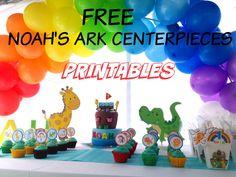 How to make FREE Noah's Ark, Jungle theme Centerpiece Printable, plus DIY video