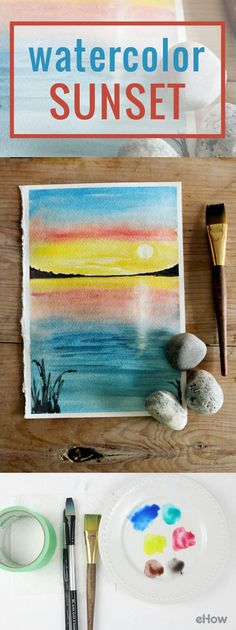 Watercolor sunset painting, using wash and 'lifting' techniques to create the sun and its reflection. Watercolor Sunset, Easy Watercolor, Watercolor Cards, Watercolour Painting, Painting & Drawing, Watercolors, Watercolor Wallpaper, Watercolor Leaves, Watercolor Artists