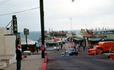 Fisherman's Wharf, Redondo Beach — August 1953 Photo Taken By ElectroSpark Redondo Beach Pier, San Fernando Valley, Hermosa Beach, Historical Photos, Architecture, Retro, Old Photos, Street View, Fisherman's Wharf