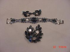 Vintage Blues And Aurora Borealis Rhinestone Brooch  Bracelet
