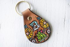 Custom initial leather key fob - Cacti and Sunflowers Pattern keychain - hand painted and hand stamped Cactus Succulent tag - Mesa Dreams by MesaDreams on Etsy https://www.etsy.com/listing/523442090/custom-initial-leather-key-fob-cacti-and