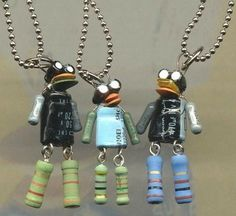 Robot jewelry from old tv parts