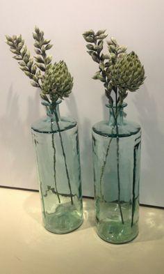 Gerecycled glazen vazen; ideaal vind ik ze. Ze zijn lekker groot, en door er 2 naast elkaar neer te zetten, heb ik ineens die kale muur opgeleukt.