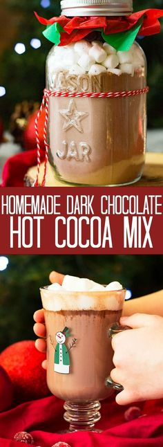 This Homemade Dark Chocolate Hot Cocoa Mix is rich, creamy, and makes the best hot chocolate! You'll never buy the store bought mix again! More from my siteHomemade Dark Hot Chocolate Mix Dark Hot Chocolate Mix Recipe, Hot Chocolate Bars, Hot Chocolate Recipes, Hot Cocoa Mix In A Jar Recipe, Homemade Hot Chocolate Mix Gift, Chocolate Diy, Chocolate Spoons, Mrs Fields Chocolate Chip Cookies, Cocoa Recipes