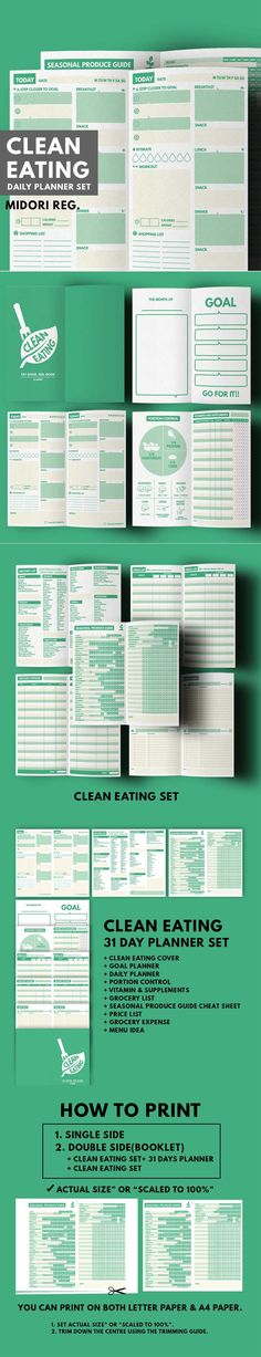 Clean Eating : Daily Planner Set ▹ for Clean Eating lifestyle people & Who want to lose weight with Healthy plan Printable PDF