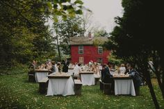 Outdoor wedding at Santarella in the Berkshires.  Using Classical Tents Farm Top Tables and Wooden Benches