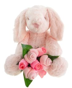 This gorgeous baby gift combines the most super-soft Binky Bunny with a sweet mini sock bouquet (3 pairs of baby girl socks wrapped just like a little flower posy).  A great gift for a baby girl - Binky is sure to become one of baby's favourites.