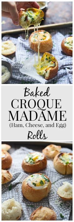 Baked Croque Madame Rolls- Ham, Cheese and Egg stuffed into a French roll, and baked until gooey and hot!