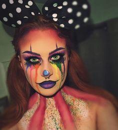 Regenbogen-Clown-Make-up - Holloween - creepy halloween costumes Maquillage Halloween Clown, Creepy Halloween Makeup, Scary Makeup, Sfx Makeup, Beauty Makeup, Halloween Fotos, Halloween Inspo, Easy Halloween, Halloween Night