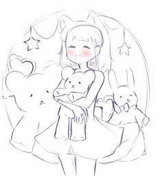 Adoptables by sera-q on DeviantArt - Una pequeña niña kawaii con peluches - Anime Drawings Sketches, Cute Drawings, Poses References, Drawing Base, Manga Drawing, Art Base, Drawing Reference Poses, Drawing Challenge, Cute Art