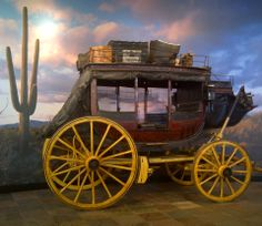 """""""Ben Holladay"""" Concord Stagecoach number 276 on display at the Wells Fargo History Museum in Phoenix, AZ. Old Western Towns, Western Art, Old West Photos, Wild West Party, Stage Coach, Horse Drawn Wagon, Wooden Wagon, Old Wagons, Flower Car"""