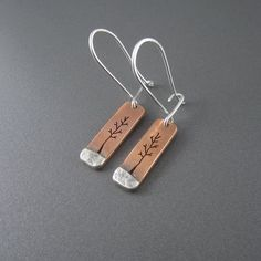 Tree at Dawn Mixed Metal Earrings by Beth Millner Jewelry.  Copper and sterling silver with patina.
