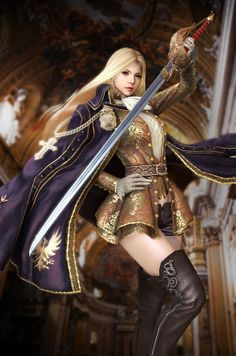 Artist: Unknown name aka caneria jh - Title: blond female knight - Card: Henriette, Righteous One (3d version) - Based: Illustration by Seunghee Lee aka tranquillo