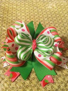 Strawberry Over the Top bow by SaSsYnClAsSyBoWs on Etsy, $9.79