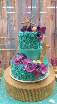 Gorgeous cake at a mermaid birthday party! See more party ideas at CatchMyParty.com!