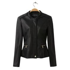 CT696 New Fashion Ladies' Faux Leather Black Jacket coat stylish zipper long sleeve outwear casual slim brand designer tops