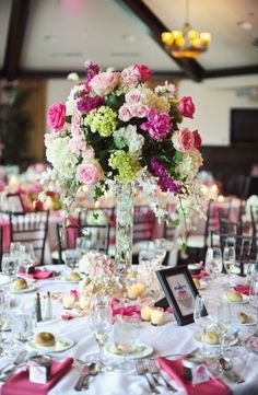 tall wedding reception floral centerpieces | Tall Centerpieces - High Centerpieces | Wedding Planning, Ideas ...