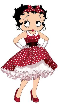 Betty in a red with white polka-dots dress & headband ~ #cartoons #bettyboop #illustration ✿⊱╮