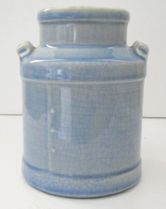 "Pottery milk jug blue marked USA 4½"" #USA"