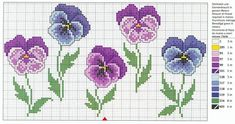 cross stitch pansies