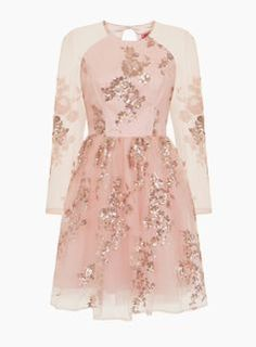 **Chi Chi London Rose Gold Sequined Midi Dress