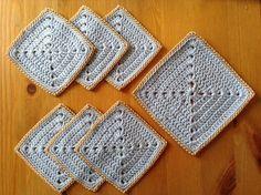 Lavender Blue Square Crochet Coaster Set by MeruHome