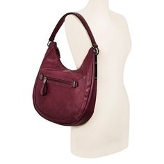 Women's Faux Leather Hobo Handbag with Zip Closure - Mossimo Black : Target