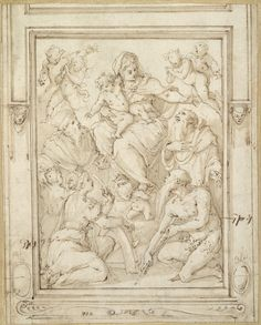 Giorgio Vasari (Arezzo 1511–Florence 1574). The Virgin and Child with Saints Catherine, Onofrio, Jerome, and Ivo. Pen and brown ink with brown wash over black chalk.