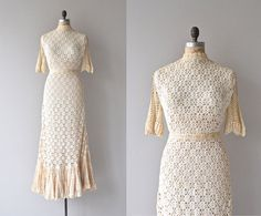 Rising Spirit wedding gown | vintage 1970s crochet dress • bohemian cotton crochet wedding dress