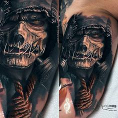Tattoo by ig:spirotattoo Scary Tattoos, Skull Tattoos, Sleeve Tattoos, Grim Reaper Art, Norse Tattoo, Cover Up Tattoos, Creepy Art, Skin Art, Beautiful Tattoos