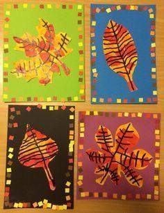 Really sweet fall leaf art for little hands. Love the borders! Fall Arts And Crafts, Autumn Crafts, Fall Crafts For Kids, Art For Kids, Autumn Art Ideas For Kids, Kindergarten Art, Preschool Art, Classe D'art, First Grade Art