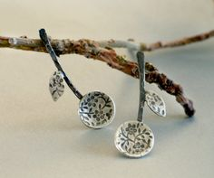 Branch textured sterling silver Earrings