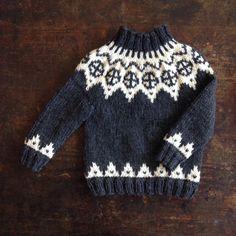 Palle wool/alpaca sweater dark Grey/White 1-3y