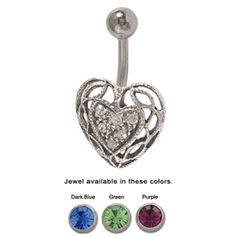 trending jewels Belly Button Ring with a Half CZ Crystal 3D Heart Design