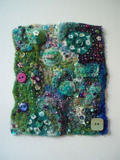 beaded fabric collage by Createarian, via Flickr