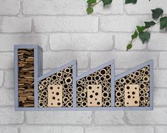 Triple Insect Factory and Bee Hotel Insect Hotel, Mason Bees, House Wall, Creative Art, Projects To Try, Christmas Gifts, Etsy, Handmade Gifts, Crafts