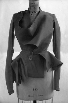 Asymmetric jacket with sculptural drape - fashion construction; pattern cutting; fashion design // Rick Owens