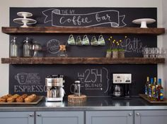 Home Coffee Bar with Chalkboard backdrop